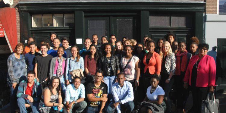 Ontvangst van studenten in Anna Frank Huis in 2015